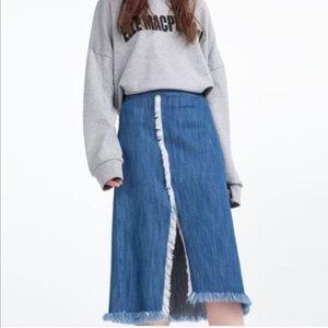 Zara Denim Midi Split Fringe Hem Skirt